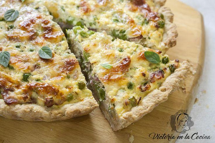 Tarta de arvejas, ricotta y panceta ahumada | Cocina