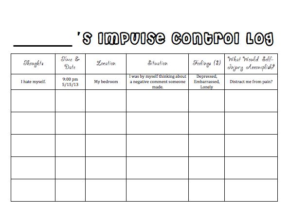 Printables Impulse Control Worksheets For Kids 1000 ideas about impulse control on pinterest adhd social log for self injury