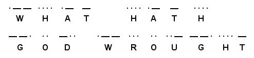 """Morse code for What Hath God Wrought, the first telegraph message sent by Samuel Morse on May 24, 1844.  """"See what God has done"""" Numbers 23:23"""