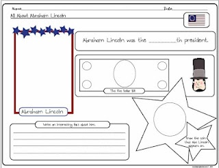 All about Abraham Lincoln printable freebie for Presidents' Day