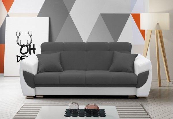 Schlafsofa Sofa Schlafcouch Couch Grau Weiss Schlaffunktion