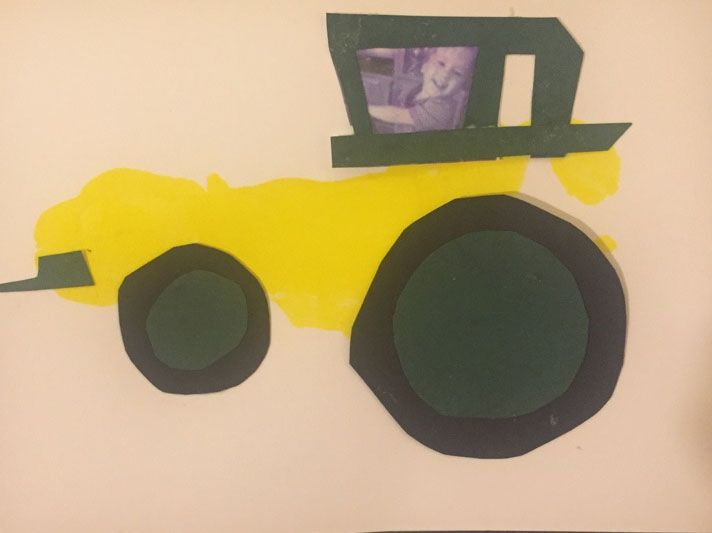The yellow part of this tractor is my son's footprint. I gave it to his grandma's on Mother's Day.