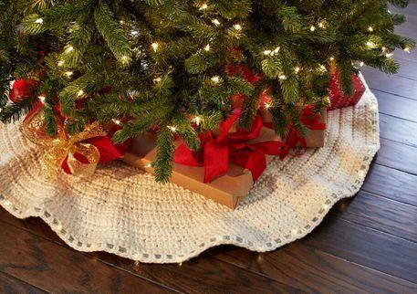 Jupe d'arbre Chalet douillet au crochet avec lumières DEL