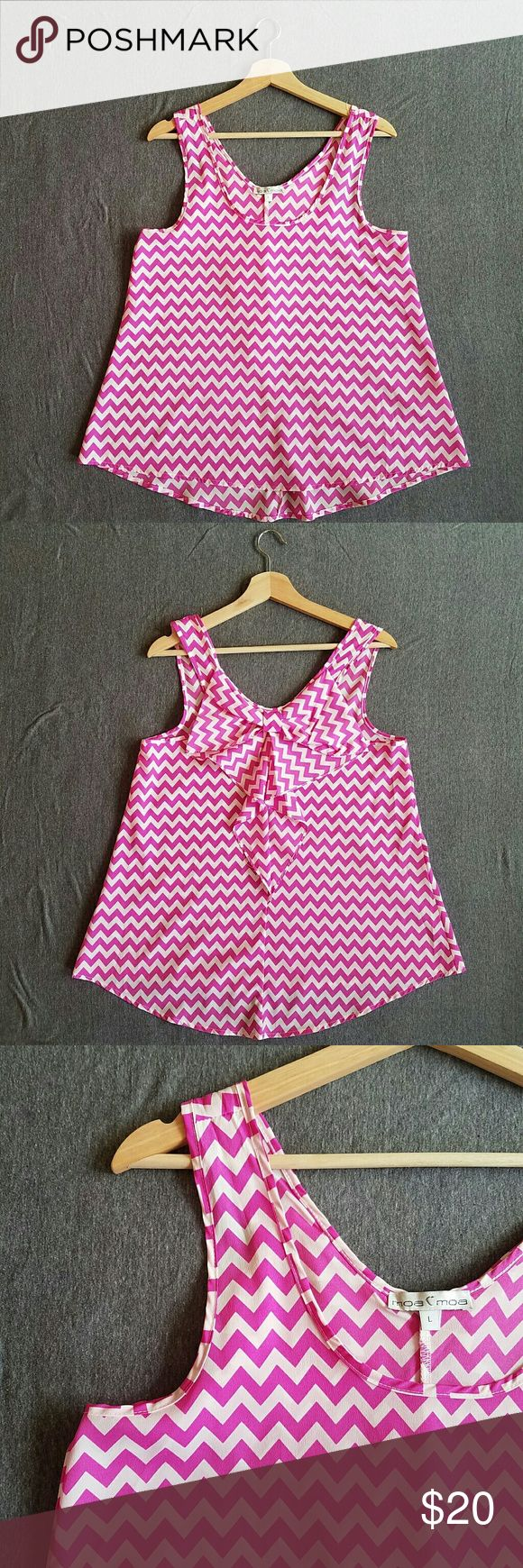Pink Chevron Top with bow back NBW, but no tags Scoop cut loose tank top with bow on the back of the top Pink and white chevron pattern 100% polyester Moa Moa Tops