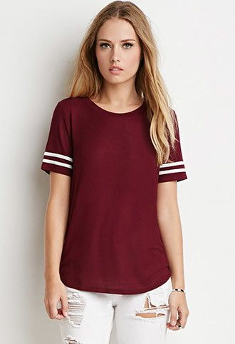 Striped-Sleeve Tee | Forever 21 - 2000096916