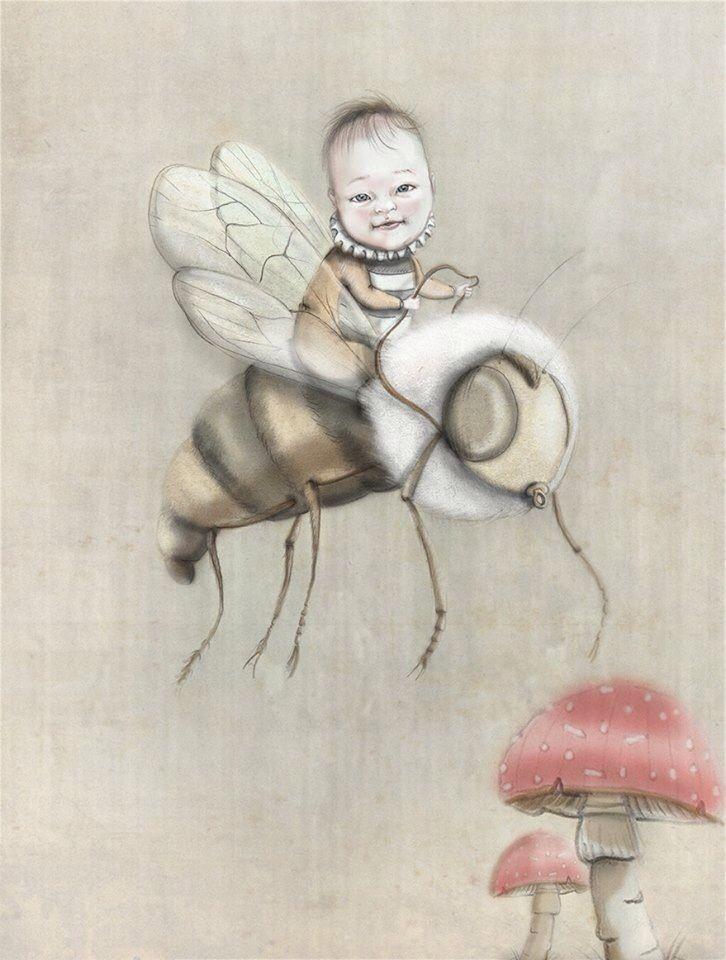 Principessina delle api Anita Illustrazione matite e digitale