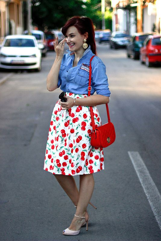 Cherries skirt + denim shirt
