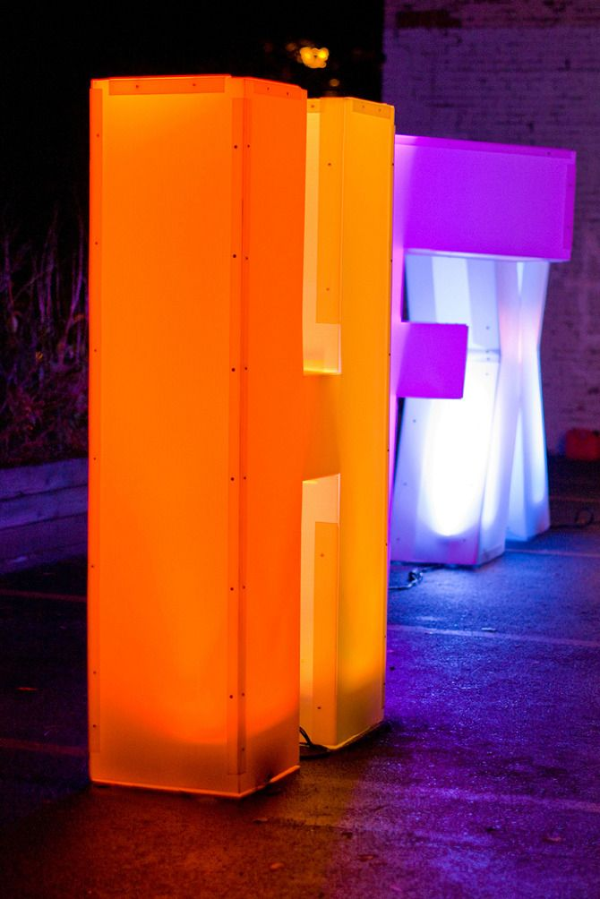 HAO Creative  Breakhouse transformed a publicly-owned parking lot into a one night installation of civic ideas. Our team constructed six foot tall  dimensional letters out of transparent corrugated plastic and lit them with rotating LED lights to attract people off the main street.
