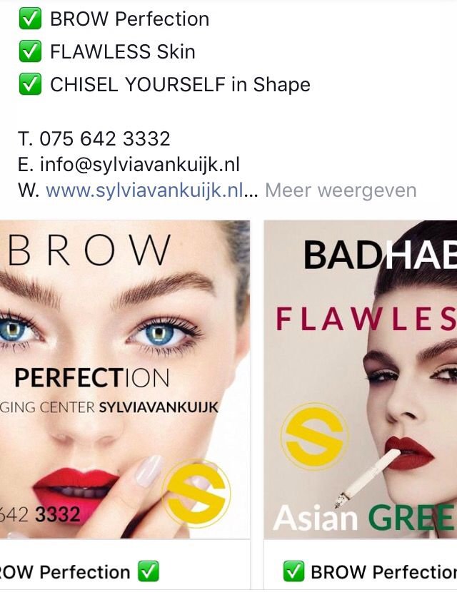 ✅ BROW Perfection ✅ FLAWLESS Skin ✅ CHISEL YOURSELF in Shape  http://eepurl.com/cgnecb   T. 075 642 3332 E. info@sylviavankuijk.nl W. www.sylviavankuijk.nl  * www.facebook.com/Antiagingcenter.Sylvia.van.Kuijk * Instagram #antiagingcentersylviavankuijk @sylviavankuijk * www.twitter.com/sylviavankuijk  *  www.sylviavankuijk.nl - Blog * https://nl.pinterest.com/sylviavankuijk/