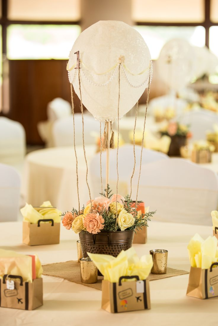 Hot air balloon centerpiece with lace pearls and dried for Balloons arrangement decoration