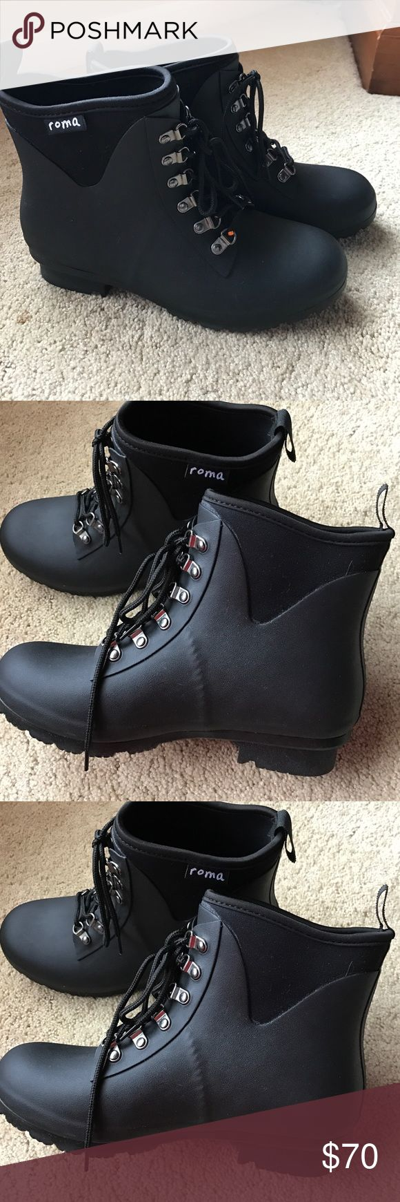 "NWOT Roma Boots ""evol"" rain boots size 9 NWOT ☔️Roma Boots ""Evol"" style matte black rain boots size 9 matte black rubber rain boots. Superb quality, never worn- cute hiking boot style, slip on with laces roma Shoes Winter & Rain Boots"