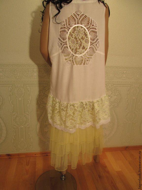 Купить Туника штапельная с кружевной спинкой - белый, однотонный, туника, летняя одежда, летняя туника