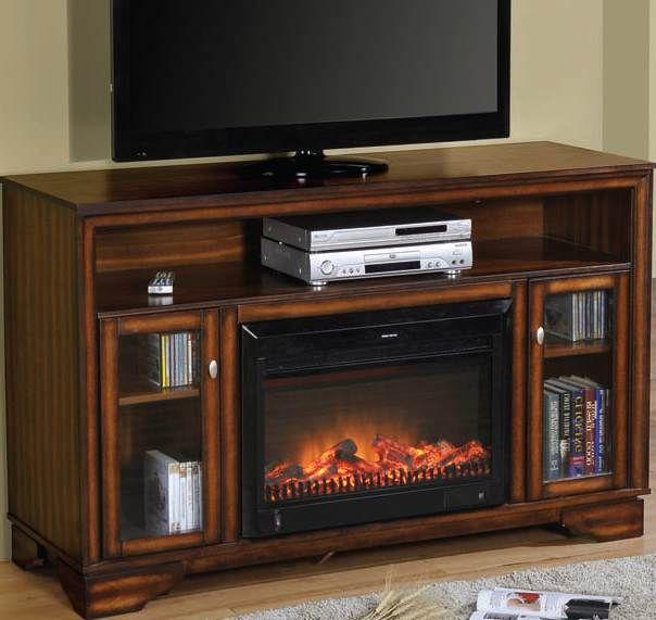 calvert cherry tv stand wbuiltin heater fireplace