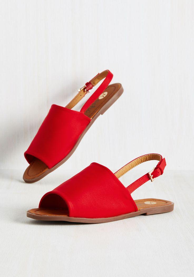 Two Steps Slingback Sandal in Crimson - Red, Solid, Casual, Beach/Resort, Minimal, Summer, Flat, Good, Slingback, Variation, Red,…