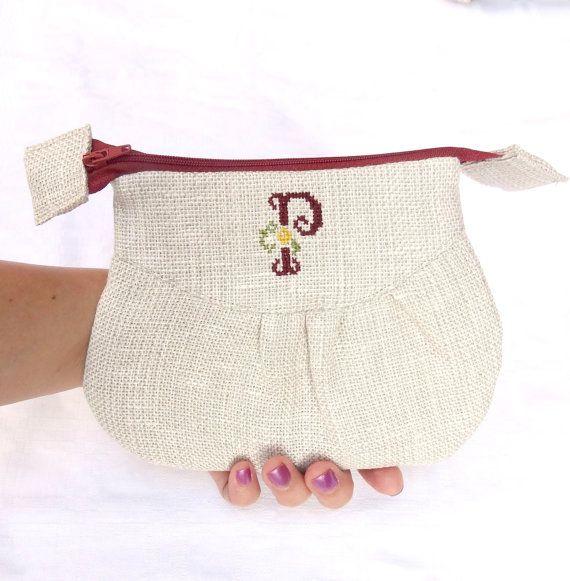 Monogrammed P Linen Zipper Pouch