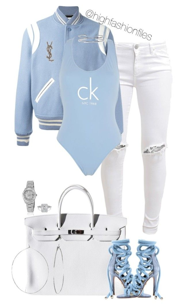 """""""Untitled #2736"""" by highfashionfiles on Polyvore featuring FiveUnits, Yves Saint Laurent, Hermès, Calvin Klein, Boohoo, Phyllis + Rosie and Rolex"""