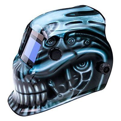 True-FusionTM BioMech IQ1500 Solar Powered Auto-Darkening Welding Helmet/Grind mask with FREE Storage Bag, Spare Lenses and Spare Sweatband included by True-Fusion