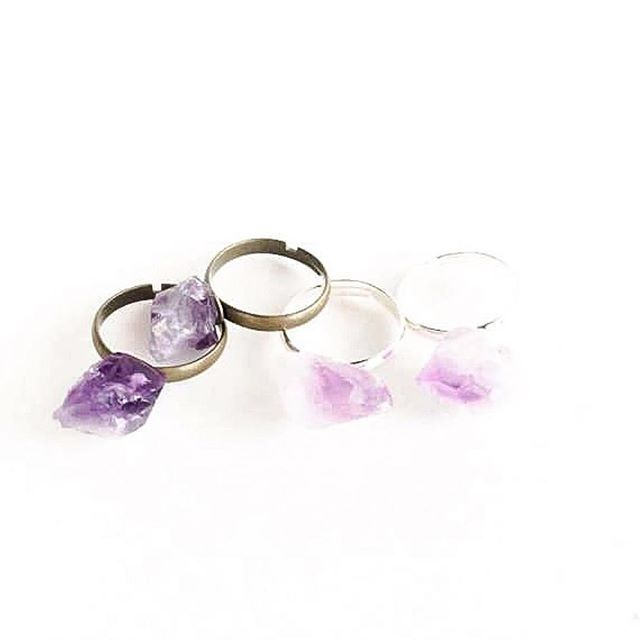 Dazzle your fingers with raw amethyst! Adjustable rings in silver and brass by Birch Jewellery
