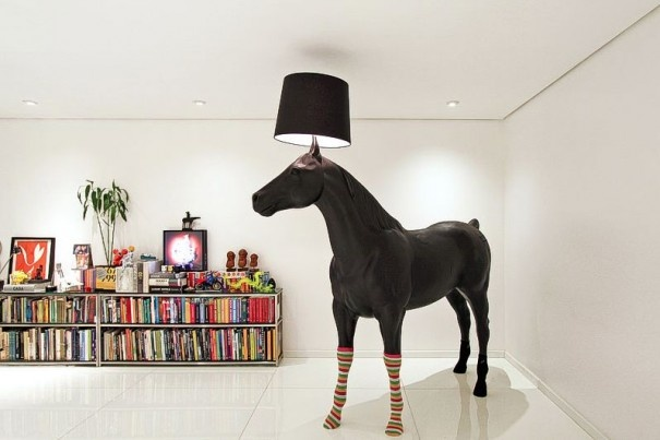 Because why wouldn't you have a life size horse lamp with rainbow colored socks?  Office inspiration? There ya go - office Recife Santos & Santos Toribio Dewey
