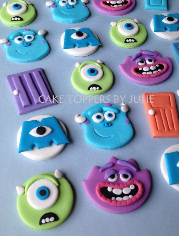 These monster toppers are made of edible gum paste & perfect for cupcakes or cookies. Qty: 12 toppers 2 Sully 2 Mike 2 Art 1 Terry & Terri 1 Squishy 2 M eye 2 Doors Size: approx 2 dia *Needed by July 24 STORAGE: air-tight container or zip-lock bag away from moisture & heat. Do not place in refrigerator or freezer. Due to the nature of the material, these items are fragile. They will be packed with care & any damage that may occur during shipping is out of my hands. Howeve...