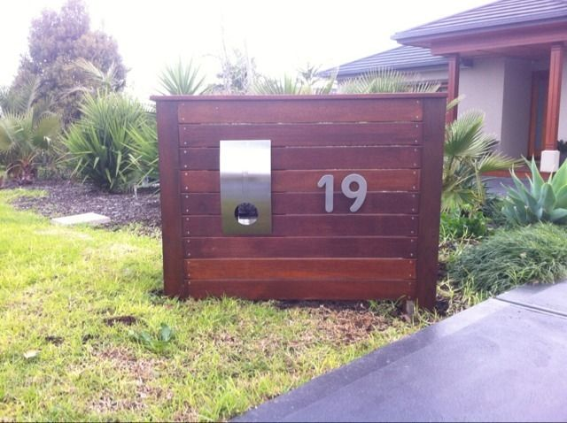 Feature letter box with Merbau panels....nice design