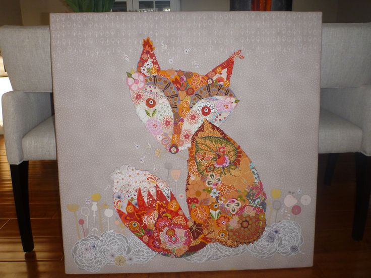 Laura Heine design. Fox collage from floral fabrics made into a quilted wall hanging.