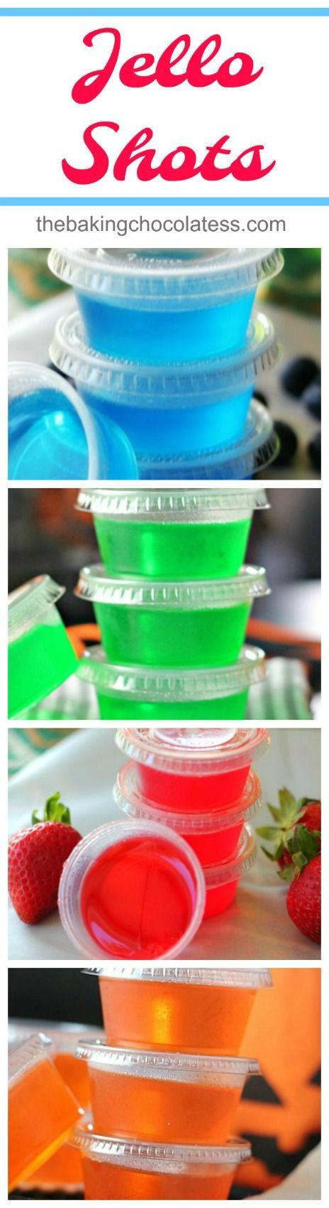Jell-O Shots - Jell-O shots are easy to make.  All you do is add one small package of your favorite Jell-O to 1 cup boiling water or juice, whisking well and then add 1 cup of your choice of alcohol.   It's Party Time and fun times! via @https://www.pinterest.com/BaknChocolaTess/