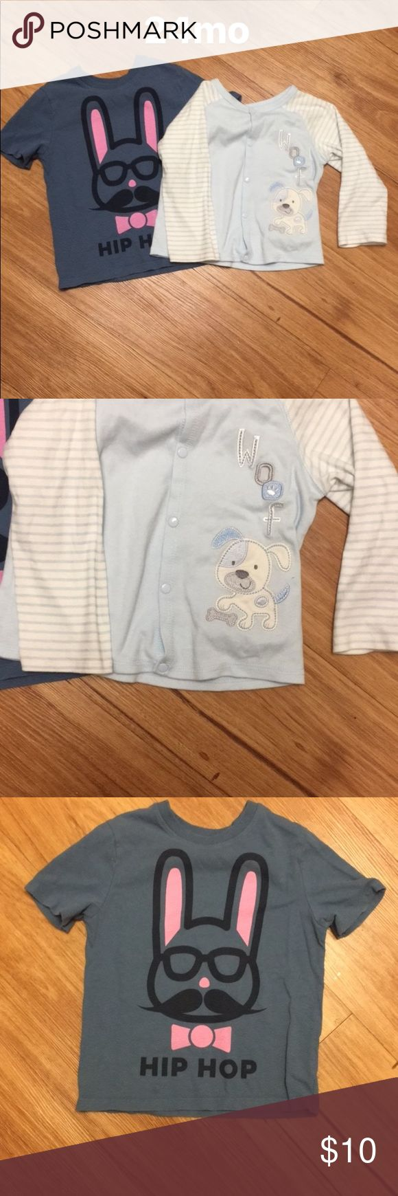 Baby Gap tshirt and light blue wrap top 24mo. Brand NWOT light blue stripe wrap top, long sleep. Preloved Gap tshirt, no stains/ damage/ washed only with dreft. Pet free smoke free home GAP Shirts & Tops Tees - Long Sleeve