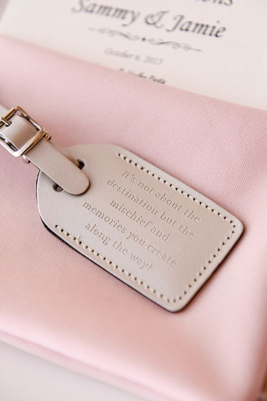 Your destination wedding guests will love these luggage tag favors