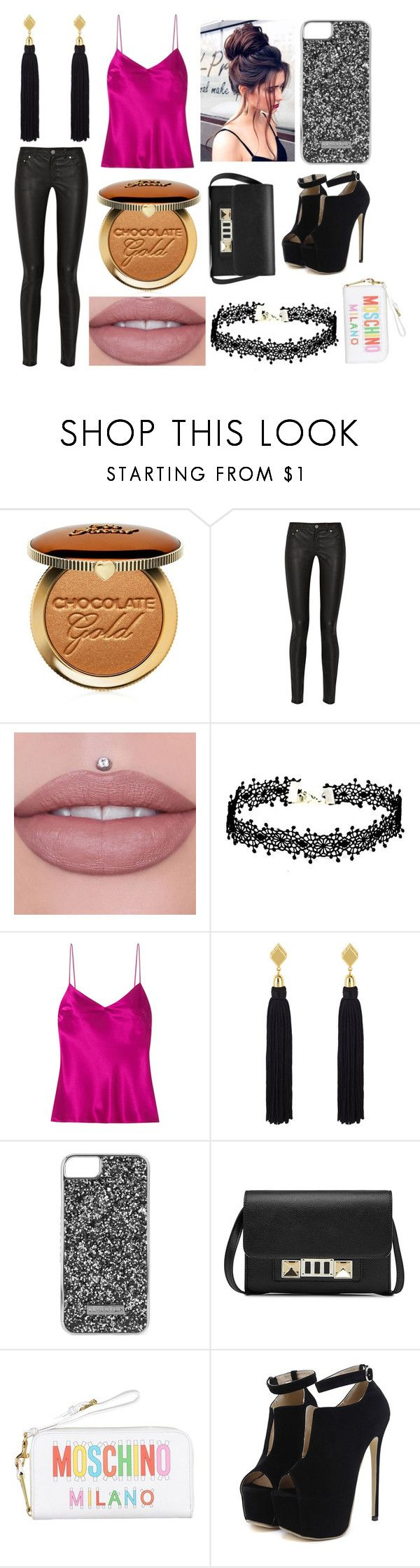 """Kyra from PERSONAL SHOPPER"" by hailey-smith-13 ❤ liked on Polyvore featuring Too Faced Cosmetics, Acne Studios, Galvan, Henri Bendel, Skinnydip, Proenza Schouler, Moschino and WithChic"