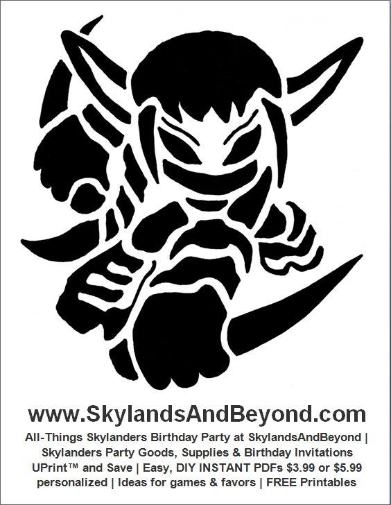 Free skylanders stealth elf pumpkin carving stencil at