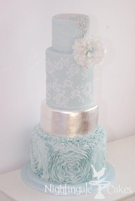 Ruffle Wedding Cake - by nightingalecakes @ CakesDecor.com - cake decorating website