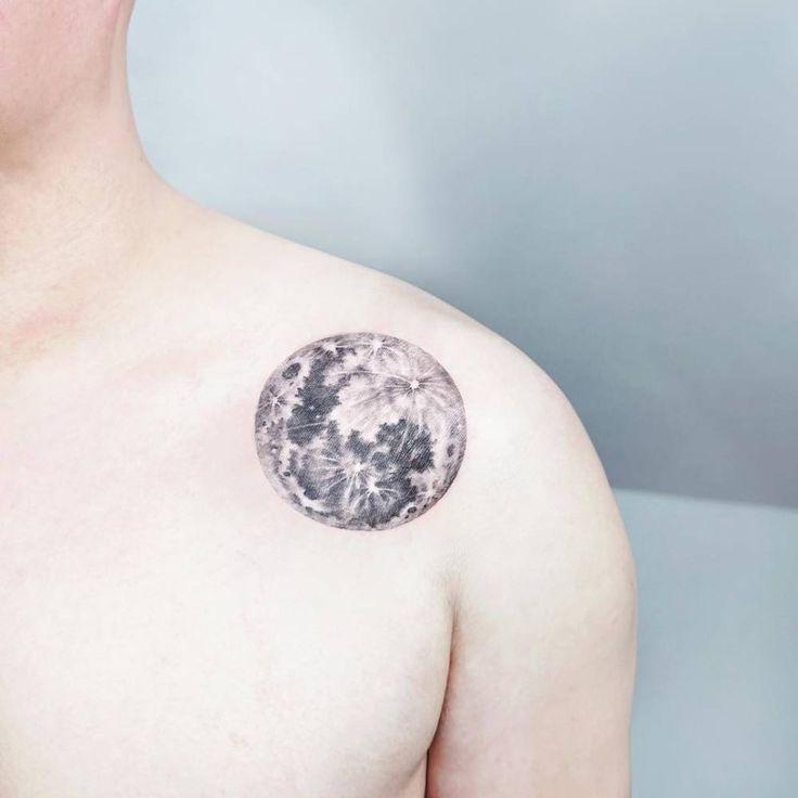 "smalltattoosco: ""Realistic moon tattoo on the left shoulder. Tattoo artist: Ida """