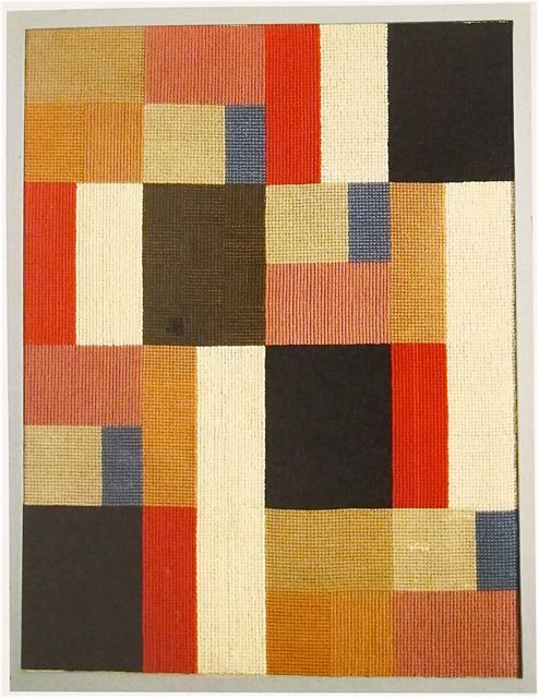 "Example of textile art preceding developments in painted  art.  Sophie Taeuber-Arp  ""Vertical-Horizontal Composition""  1916.  Her textile and graphic works from the 1916 through the 1920's are among the worlds most sophisticated geometric abstractions of the early Modernist period,"