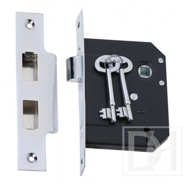 Chrome Standard 3 Lever 57mm Back Set Lock