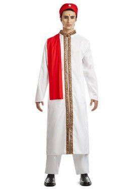 Disfraz de Bollywood para hombre en varias tallas. Incluye chaqueta, pantalón, pañuelo y turbante. Calzado NO incluido. Es ideal como disfraz de Bailarín Árabe, sultán o chico del harén. Perfecto para imitar a un bailarín Indio de Bollywood. Te lo pasarás en grande.