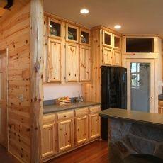 Kitchen Half Log Siding   Prefinished Knotty Red Pine Paneling With Outside  Corner, Log Style Knotty Pine Kitchen Cabinets.