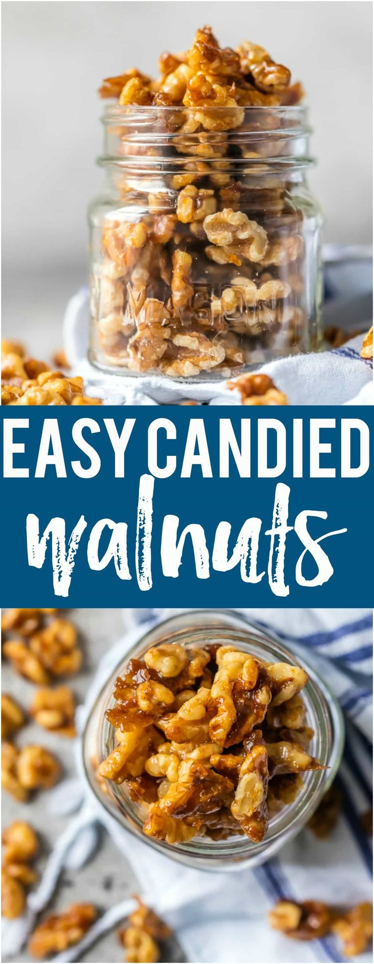 These Easy Candied Walnuts are awesome for holiday appetizers, baking, snacking, and so much more. Made in under 5 minutes and oh so tasty! #walnuts #snacks #christmas #holiday via @beckygallhardin
