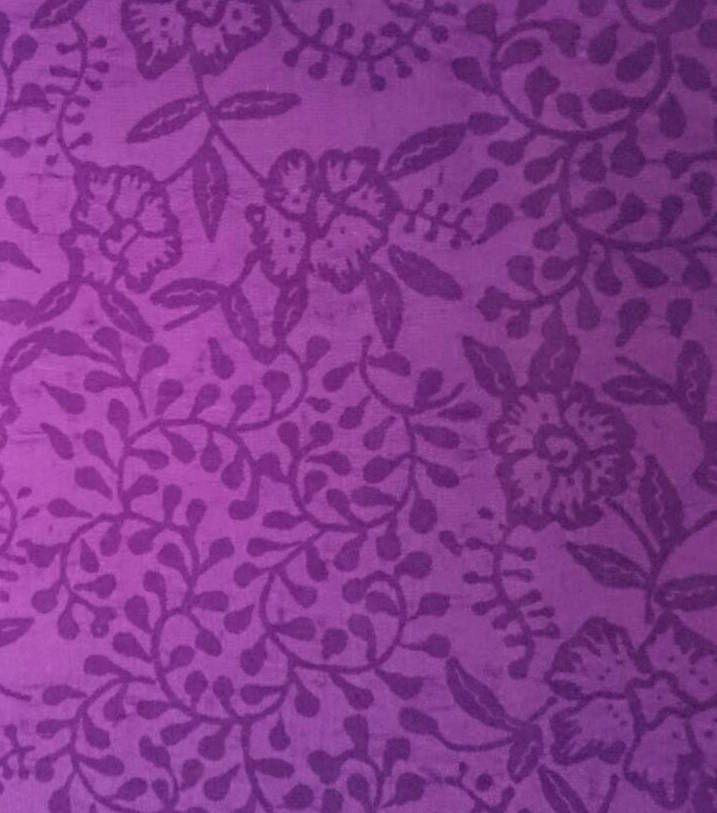 Deep purple floral embossed fabric