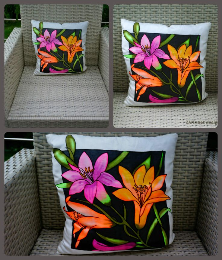 Handmade painted pillow- 100% natural silk  20eur