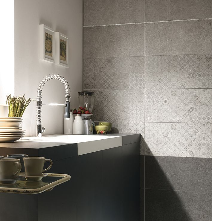 Kitchen herberia underground walltile white and anthracite - Rivestimento cucina bianco ...