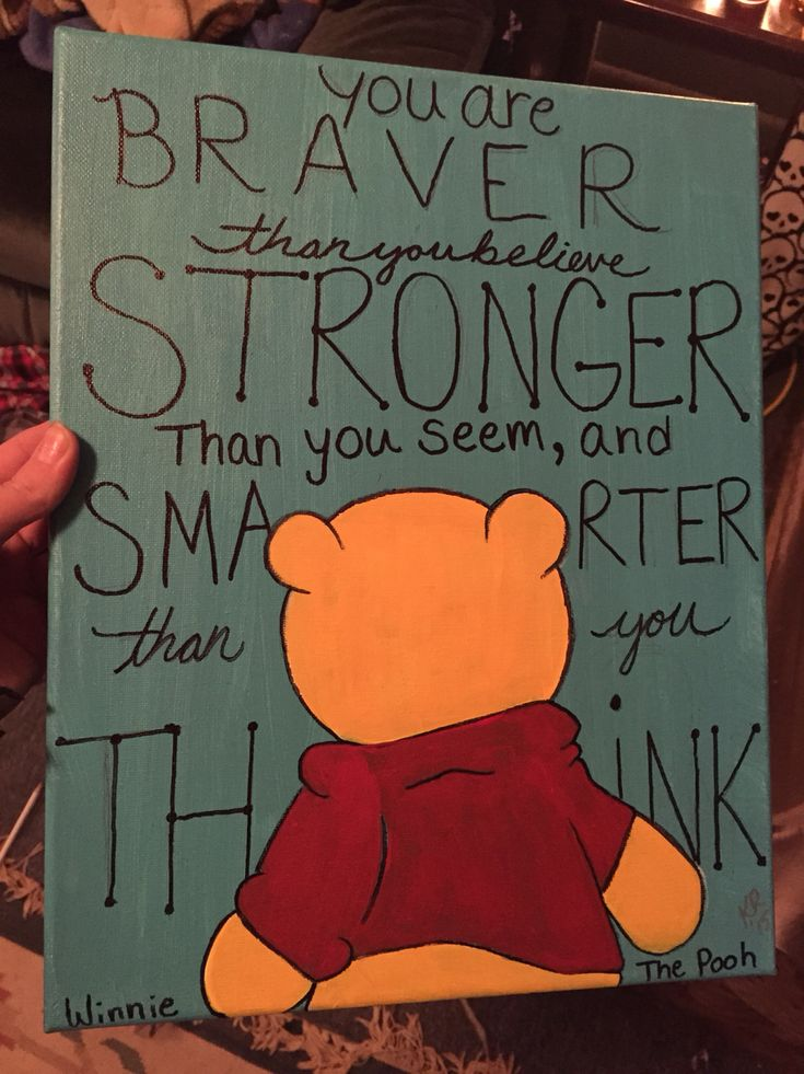 Winnie the pooh and quote canvas painting commission. painted by me, inspired by another artists work.