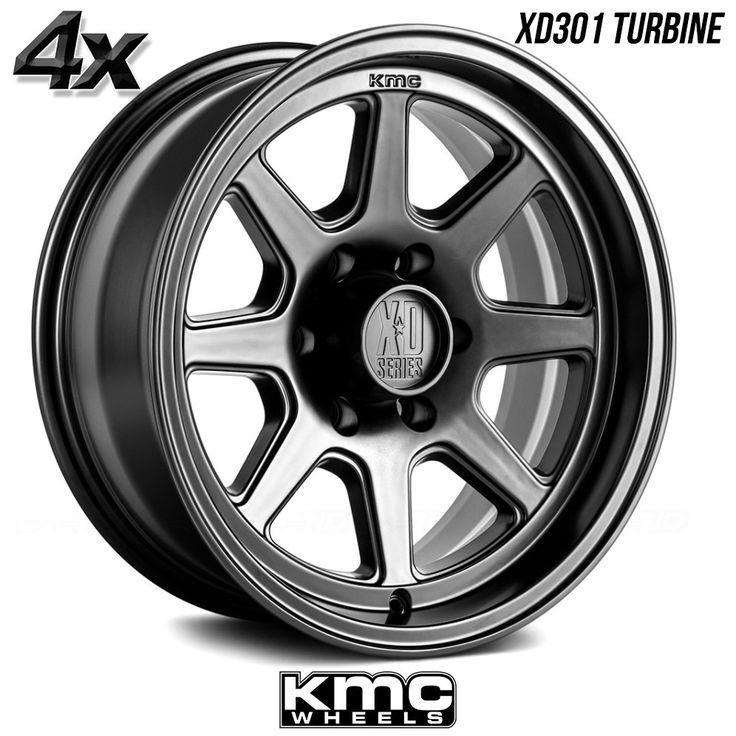 """4 KMC XD301 Turbine 17""""x9"""" 8x180 Black OFST:18mm 17 Inch Rims 17X9 Wheels"""
