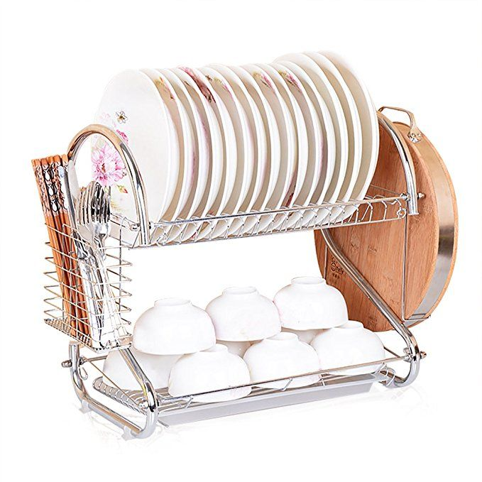 S Shape Dish Rack And Dryer Drainboard Set Stainless Steel Dish