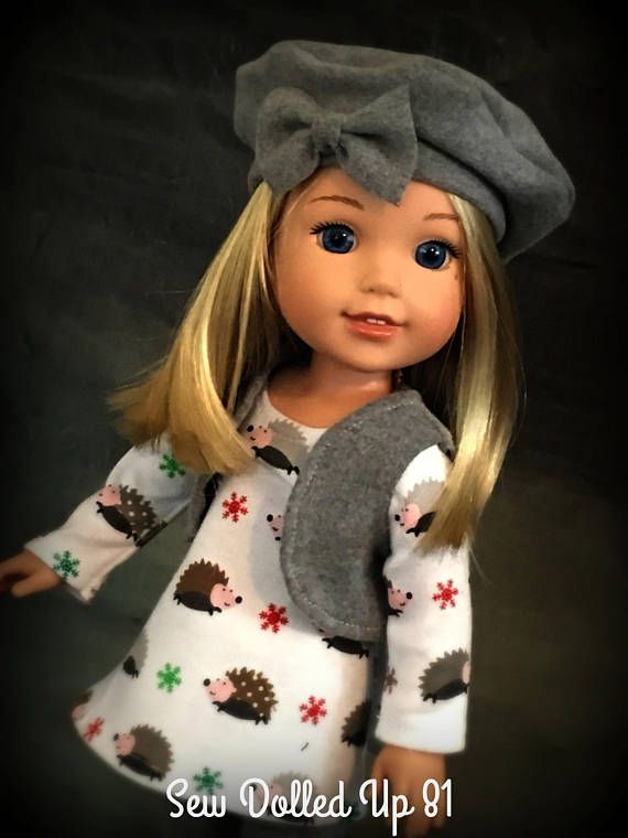 36a95aecc3ae6 You will have lots of fun topping off your fall and winter outfits with  this little Basic Beret and Vest for your 14 dolls. Both pieces are great  for ...