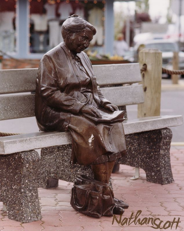 bronze sculpture mrs. stone public commission nathan scott sidney bc people street statue