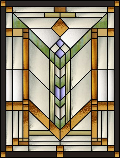 Quoitzel Decorative Window Film This interesting stained glass vertical window film is remenicent of a Frank Lloyd Wright design and is colored in shades of green. gold, silver, brown and with purple accents and a black frame with gold accents.