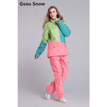 US $178.99 Cool Gsou snow womens ski suit women's snowboard suit winter jacket snow pants tablas de snowboard veste ski clothing women. Aliexpress product