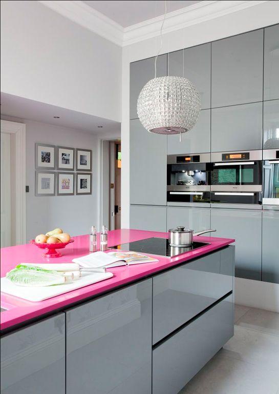 cozinha, branco, cinza, rosa, laca, cristal