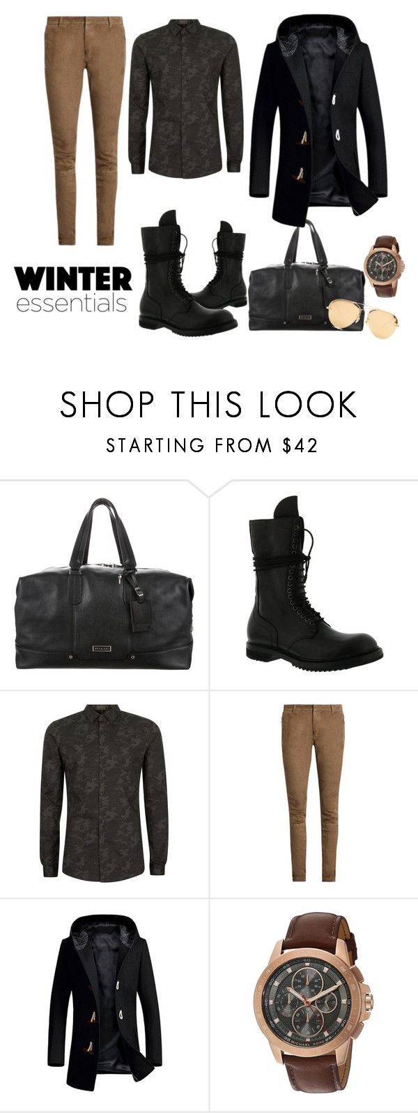 """""""#style #iconic #chic #mystyle #classy #elegant #winteressintial #winter #fashion #menswear #mensoutfit #outfit"""" by ladypeacful ❤ liked on Polyvore featuring Bulgari, Rick Owens, Topman, Balmain, Michael Kors, Linda Farrow, men's fashion and menswear"""